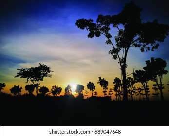 Lovely silhouette and sunset view at Marina Park Centre, Miri, Sarawak, East Malaysia