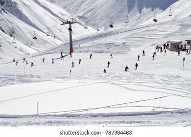 Lovely skiing conditions around the ski lift in Austria, Gargellen