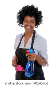 Lovely smiling African lady with cleaning spray and rag