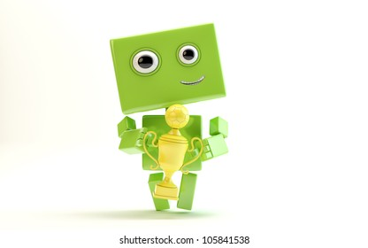 Lovely smiling android holds gold football trophy/Green robot with football cup