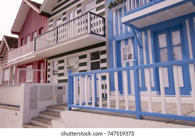 Lovely striped wooden houses in the countryside in Portugal in Costa Nova