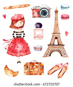 Lovely summer collection with  Eiffel tower,camera,croissant,shoes,macaroons,baguette,perfume,young girl etc.Beautiful Paris set.Perfect for invitations,template cards,birthday card,baby card,wedding