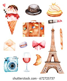 Lovely summer collection with Eiffel tower,hat,croissant,,letter,macaroon,baguette,wine,camera,cupcake etc.Beautiful Paris set.Perfect for invitations,template cards,birthday card,baby card,wedding