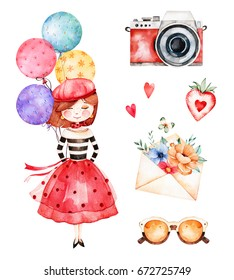 Lovely summer collection with young girl, multicolored balloons,camera,letter,flowers,sunglasses,strawberry.Beautiful Paris set.Perfect for invitations,template cards,birthday card,baby card,wedding