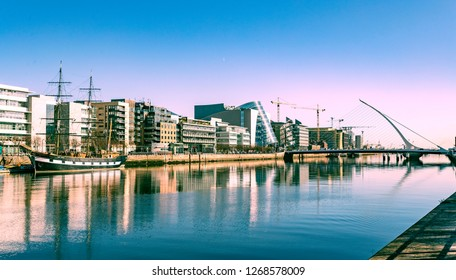 A lovely sunny day in Dublin Liffey River and Samuel Beckett Bridge