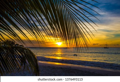 Lovely sunset at the coast of Barbados in the Caribbean
