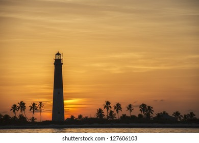 Lovely sunset at Dry Tortugas showing the lighthouse