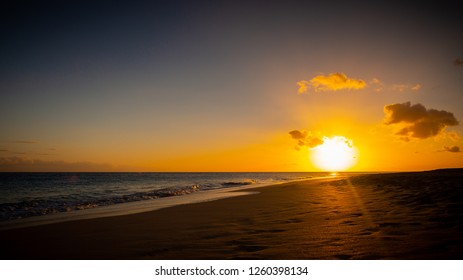 Lovely sunset over the beach at Morro Jable, Fuerteventura, Spain