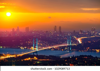 Lovely Sunset over Bosphorus Bridge Istanbul Turkey