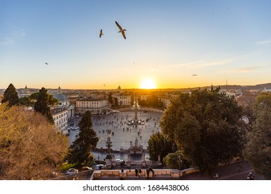 A lovely sunset over Piazza del Popolo in Rome - Italy