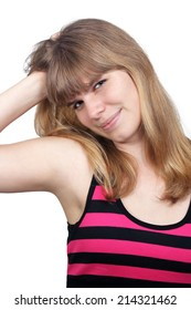 A lovely teenage girl wearing a casual top, Isolated on a white background.