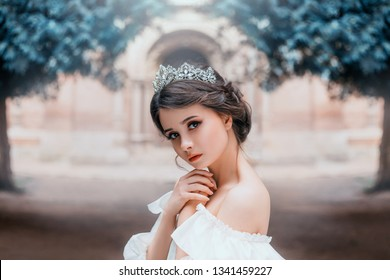 lovely tender girl with perfect skin and dark magnificent eyes, wonderful work of hairdresser and gathered brown hair with silver tiara, light natural make-up, portrait photo and creative colors