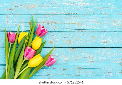 Lovely tulips bouquet, romantic spring flowers background for Brithday, Valentines Day, Anniversary, Mothers or Womens Day.