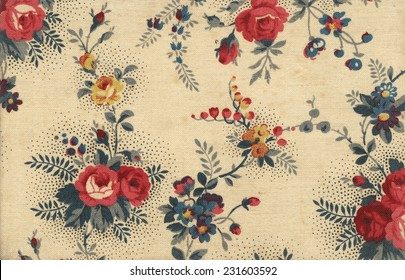 Lovely vintage old fashioned canvas wallpaper with floral ornaments - perfect in detail