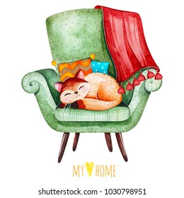 Lovely watercolor illustration.Sleeping cute kitten on cozy green chair with multicolored cushions and plaid.I love home collection.Perfect for invitations,scrapbook,print,quotes,party,wallpapers etc