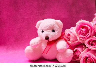Lovely white teddy bear with beautiful pink roses on pink background.