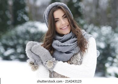 Lovely woman enjoying the winter