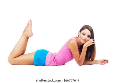 Lovely woman lying on white background