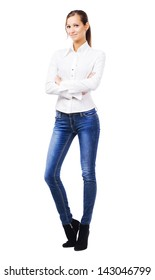 Lovely woman in white shirt and blue jeans, isolated on white background
