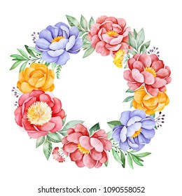 Lovely wreath with peony,rose,leaves,flowers,branches and berries.Watercolor bouquet for your design.Perfect for wedding,invitations,blogs,template card,Birthday,baby cards,greeting,logos,bridal etc.