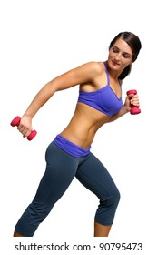 A lovely young brunette with extraordinary abdominal musculature works out with hand weights; profile view.