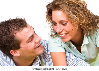 Lovely young couple having fun together