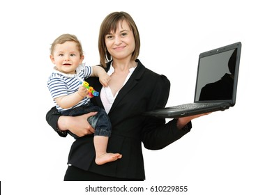 Lovely young working mother and her baby, Work Life Balance Concept, Isolated on White Background: Juggling it, Happy