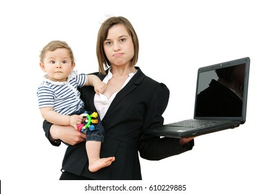 Lovely young working mother and her baby, Work Life Balance Concept, Isolated on White Background: Tired, unhappy