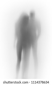 Lover couple, human body blurry silhouettes behind a curtain