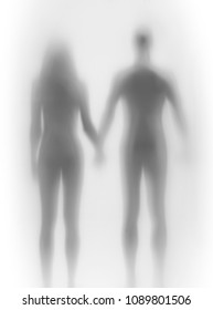 Lover couple stands together, hold each others hand, body silhouette