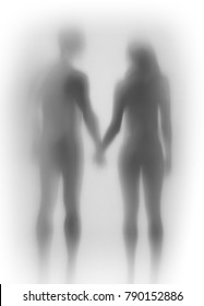 Lover couple together, hand in hand, body silhouette