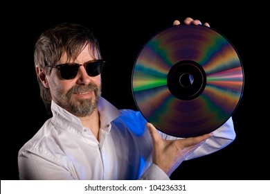 Lover of music with the retro laser disc.
