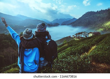 lover woman and man asian travel nature. Travel relax. Natural park on the Moutain. Thailand