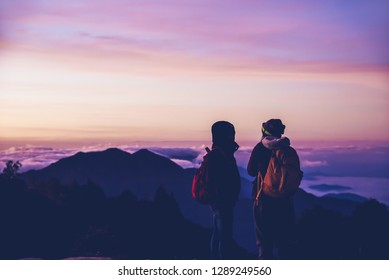 Lover women and men Asian travel nature. Travel relax. Natural Touch countryside. Thailand