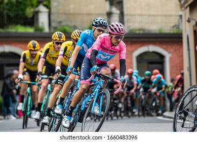 Lovere, Italy May 28, 2019: Professional cyclists during a quick transition to Ponti di Legno halfway through a hard stage of the Giro D'Italia 2019.
