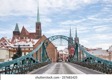 Lovers Bridge and Cathedral in the background in Wroclaw, Poland