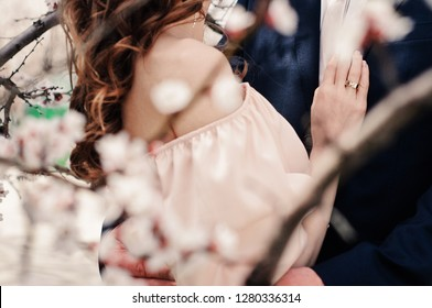 Lovers couple, man and woman, hugging, close-up. Valentine's Day, Wedding Day, love story or romantic background
