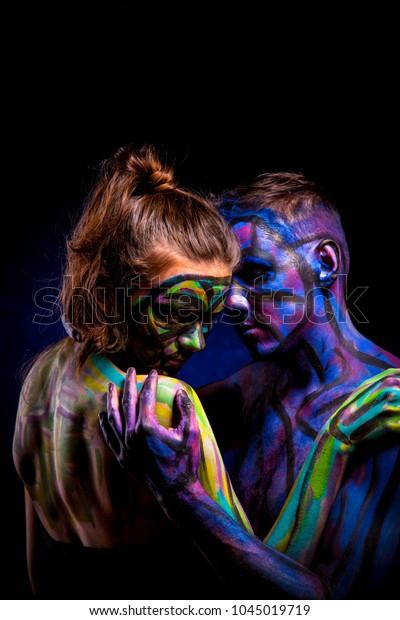 Lovers Couple Paint Abstract Art Portrait Stock Photo Edit Now 1045019719