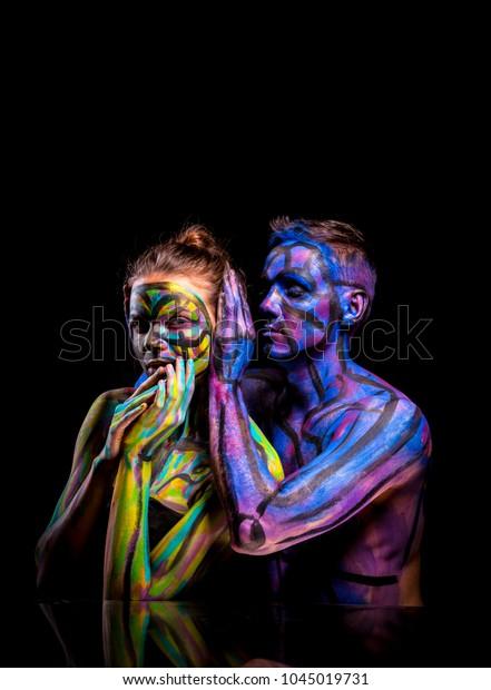Lovers Couple Paint Abstract Art Portrait Stock Photo Edit Now 1045019731