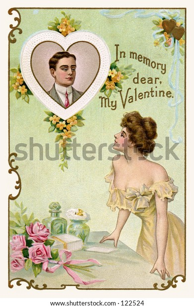 Lovers dreaming of each other - vintage art from a 1910 Valentine greeting.