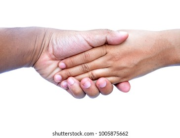 Lovers hand together On a white background