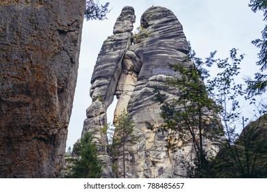 """Lovers"" rocks in Adrspach Rocks, part of Adrspach-Teplice landscape park in Broumov Highlands region of Czech Republic"