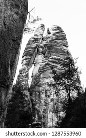Lovers sandstone rock formation in Adrspach Rocks, Czech Republic. Black and white image.