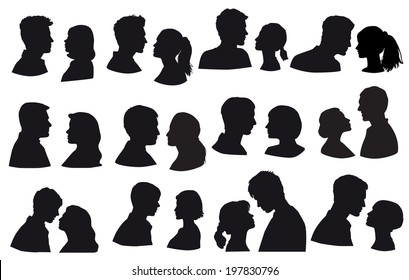 Lovers, silhouette pair of falling in love. Love, kiss, sensuality. Isolated on white background, face in profile