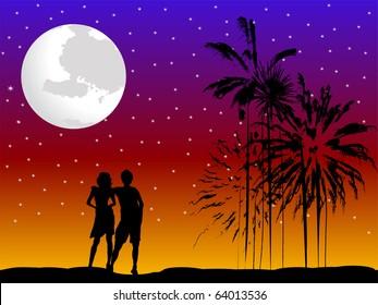 Lovers taking a romantic walk on a beach