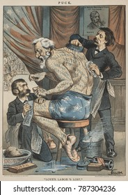LOVES LABOR LOST, political cartoon from PUCK Magazine, May 7, 1884. Republican Presidential candidate, James Blaine, sitting on a stool while Whitelaw Reid and William W. Phelps, attempt to remove th