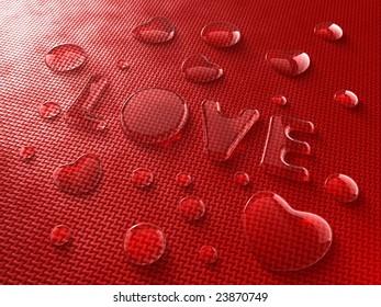 LOVE-shaped water drops
