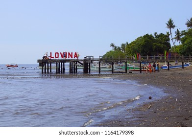 Lovina, Bali, Indonesia - August 8, 2018: Pier at Lovina Beach, Bali, Indonesia.