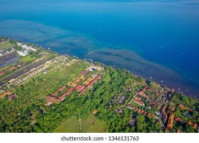 Lovina beach, aerial view, Bali, Indonesia
