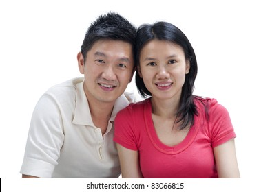 Loving Asian Couple on white background